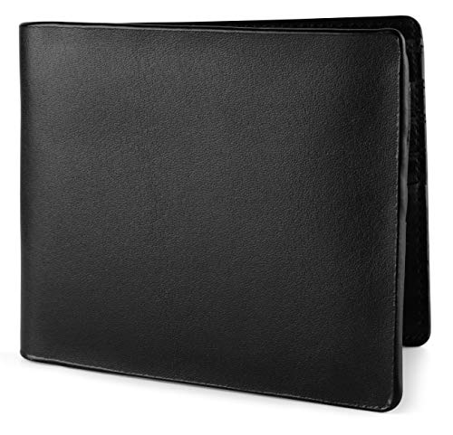 Wallet for Men Italian Leather RFID Blocking Bifold Stylish Wallet With 2 ID Window, mini box black