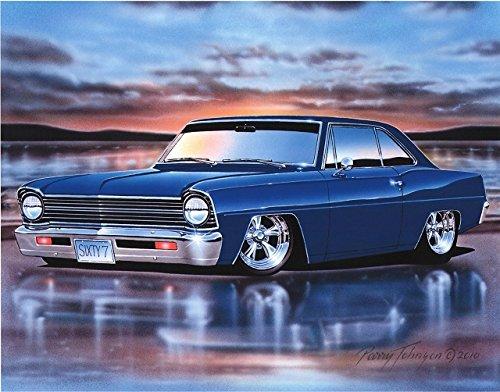 - 1967 Chevy II Nova 2 Door Hardtop Classic Car Art Print Blue 11x14 Poster