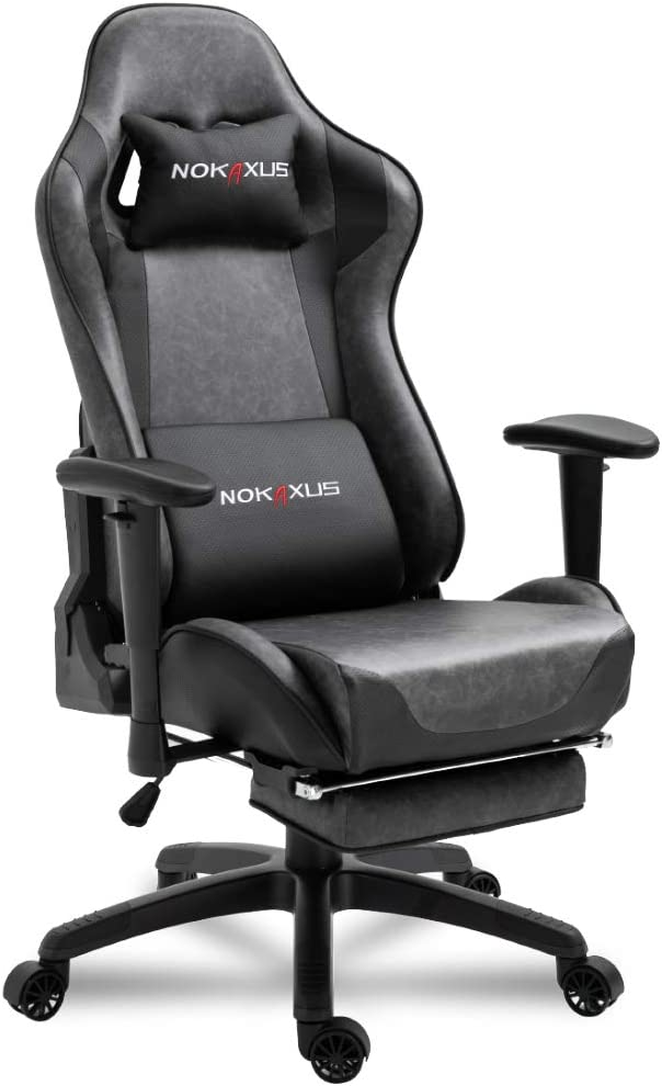 Nokaxus Office Chair Computer Gaming Chair with Massage Lumbar Support and Retractible Footrest PU Leather 90-180 Degree Adjustment of Backrest (YK-6008-BALCK11)