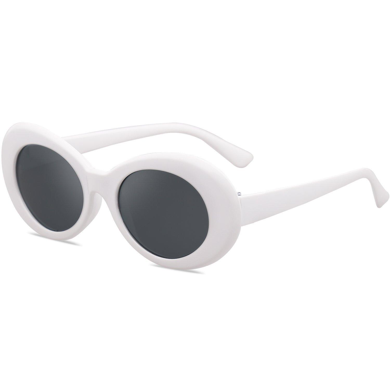 6c99b9f925 SOJOS Clout Goggles Oval Mod Retro Vintage Kurt Cobain Inspired Sunglasses  Round Lens SJ2039 with White Frame Grey Lens - SJ2039C1   Sunglasses    Clothing