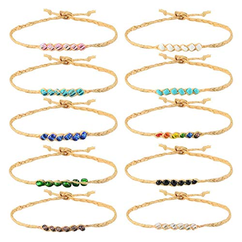 Tarsus 100% Waterproof Beaded Hemp Wish Friendship Bracelets/Anklets Set for Women Girls String Handmade Bracelets Braided Woven Adjustable Jewelry Birthday Gift 10 -