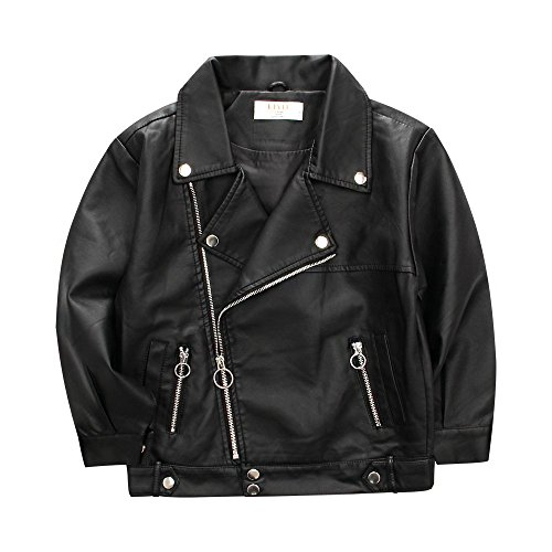LJYH Faux Leather Jacket for Children Motorcycle Jacket for Boys Spring Jacket for Girls -