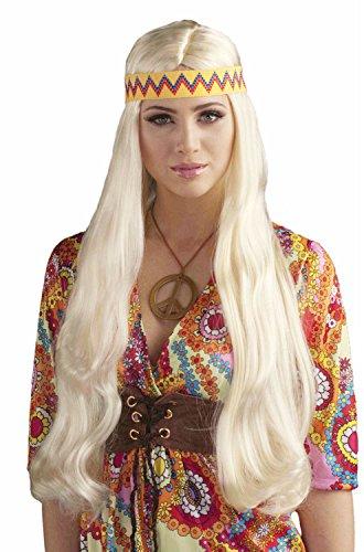 Forum Novelties, Inc Hippie Chick Blonde Wig with Headband - Halloween Hippie Costumes