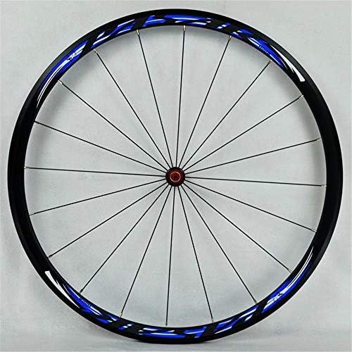 サイクリングホイール700Cフロント/リアホイール、ダブルウォールアロイリムVブレーキ30mmバイクホイールセットクイックリリース24H 8-11スピード840g