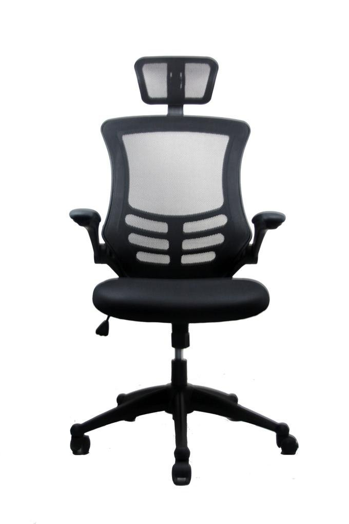 Amazon.com: Techni Mobili Modern High Back Mesh Executive Chair With  Headrest And Flip Up Arms. Color: Black: Kitchen U0026 Dining