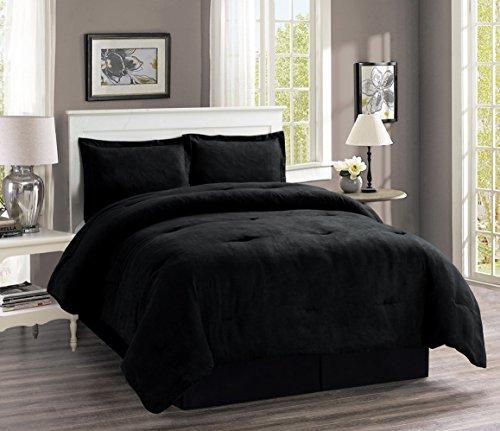 (Grand Linen 4-Piece Oversize Solid Black Micro Suede Comforter Set Queen Size Bedding)
