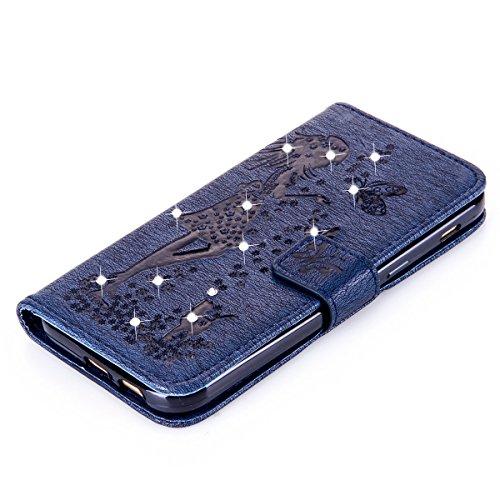 Funda Galaxy A5(2017), Funda de brillo Galaxy A5(2017), Lifetrut Sólido Shiny Sparkle Libro de Estilo de Cuero con Ranura para Tarjetas de Cierre Magnético Soporte Funda de Teléfono de la Función con  E204-Armada