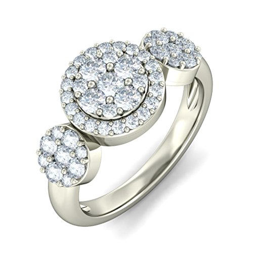 14K White Gold (HallMarked), 0.96 cttw Round-Cut Diamond (IJ | SI ) Cocktail Diamond Engagement Wedding Ring Size - 9.5 by PEACOCK JEWELS