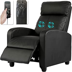 Swivel Rocker Recliner Chairs Leather Adjustable Single Recling Sofa Massage Gaming Home Theater Seating for Living Room Reading Chair Kids Recliner Lounge Chair for Small Spaces Leather, Black
