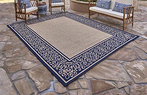 Gertmenian 21587 Furman Outdoor Rug Patio Area Carpet, 8' x 10', Large Abstract Border Navy