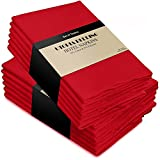Cotton Dinner Napkins Red - 12 Pack (18 inches x18 inches) Soft and Comfortable - Durable Hotel Quality - Ideal for Events and Regular Home Use - by Utopia Bedding