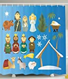Shower Curtain Gifts Nativity Set Decoration Theme Birth of Faith Cartoon Holy Figures Traditional Art Marry Illustration Fabric Blue Green White Brown 72 X 72 inch