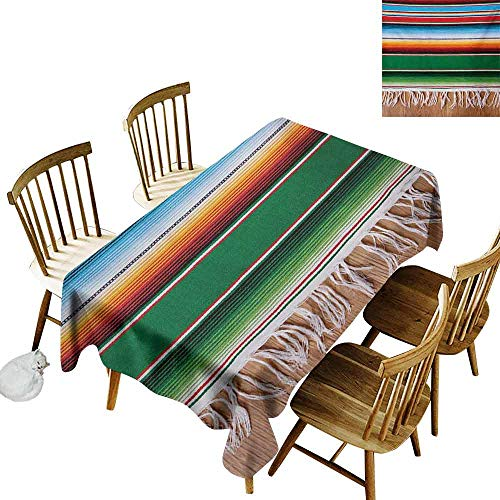- Mannwarehouse Mexican Wrinkle Resistant Tablecloth Boho Serape Blanket with Horizontal Stripes and Lines Authentic Cultures Picture Excellent Durability W60 x L120 Multicolor