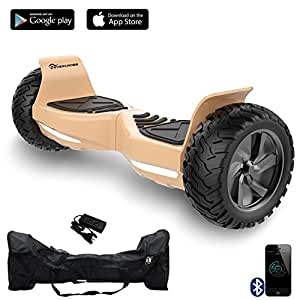 EverCross Challenger Basic Hoverboard Self Balancing Scooter SUV 8.5 All-Weather Tire Hover Through Tough Road Condition Bluetooth APP (Gold)