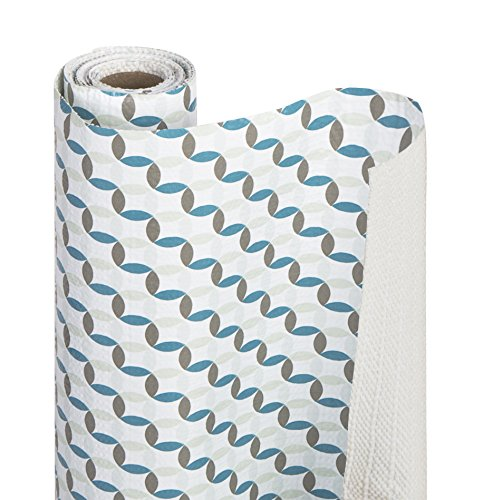 Smart Design Shelf Liner w/Bonded Grip Adhesive - Washable Cutable Material - Non Slip & Peel Design - for Shelves, Drawers, Flat Surfaces - Kitchen (12 Inch x 10 Feet) (Ocean Origami)