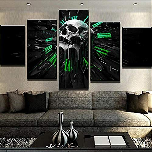HNFSCLUB 5 Panel Skull Clock Canvas Set Wall Art HD Printed Painting Online Game Halloween Theme Poster for Living Room Decor-A ()