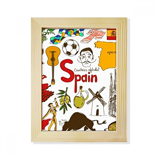 DIYthinker Spain Landscap Animals National Flag Desktop Wooden Photo Frame Picture Art Painting 6x8 inch by DIYthinker