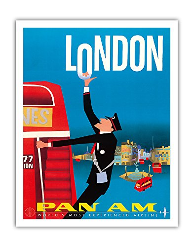 London - Double Decker Buses, Bovril and Schweppe - Pan American World Airways PAN AM - Vintage Airline Travel Poster by Aaron Fine c.1950s - Fine Art Print - 11in x 14in ()