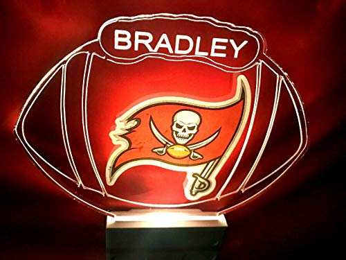 Tampa Bay Buccaneers NFL Football Night Light Multi Color Personalized LED Plug-in, - Mirrors Bathroom Tampa