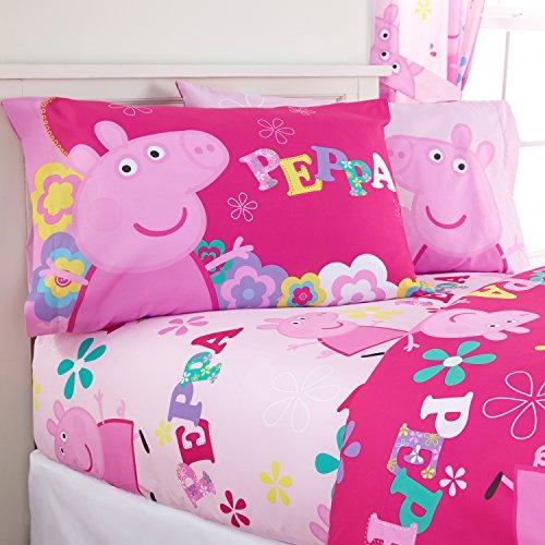4 Piece Kids Pink Girls Peppa Pig Sheet Set Full Sized, Cute Pig Peppa Bedding Tweet Tweet Oink Oink Childrens Pattern Cute Adorable Flowers Purple Blue Yellow, Polyester