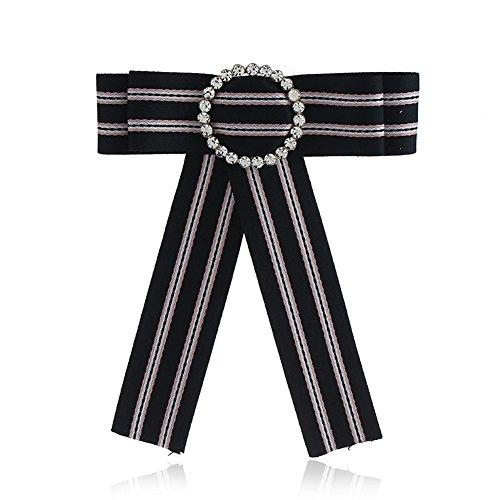Sunvy Girls Bow Tie Women Fashion Bowties Rhinestore Crystal Dangle Wedding Party Bow Tie Women/Girls Ribbon Pre Tied Neck Tie stripe Adustable Brooch Pin Clip (Black) ()