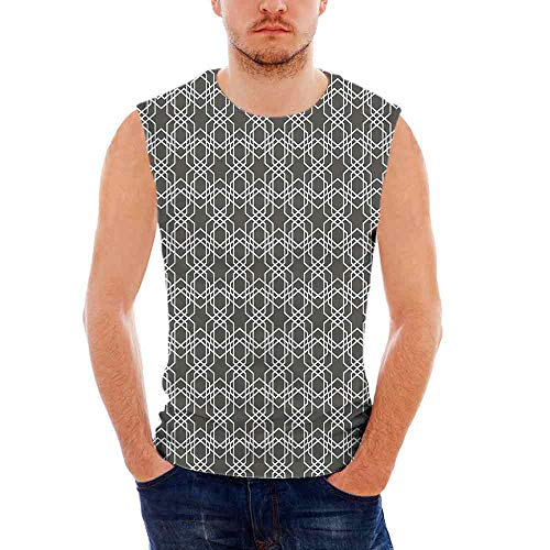 Mens Geometric Tank Top Sleeveless Tees All Over Print Casual T- Shirts,Classica