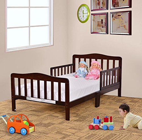 Wood Toddler Kids Baby Bed Safety Rails Espresso Bedroom Furniture + eBook by eXXtra Store (Image #4)