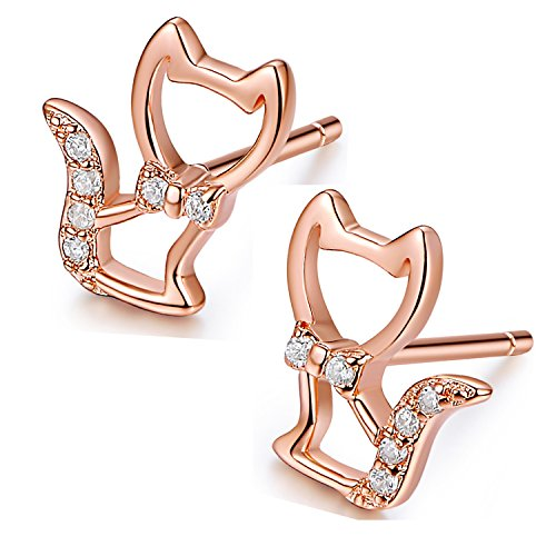 Desimtion 18K Gold Plated 925 Sterling Silver Cute Mini Pet Cat Stud Earrings For Women Girls (Rose Gold) 18k Gold Bezel