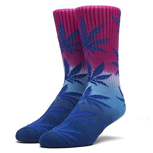 HUF Men's Tri-Fade Plantlife Crew Sock, Magenta/Turquoise/Navy, - High Street Newbury Shops