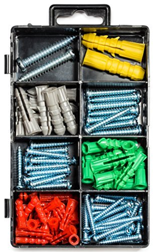 Screw and Drywall Anchor Assortment Kit, Phillips or Slotted Pan Head Screws, Toggle Bolt Wings, Hollow Wall Anchor, Picture Hangers, High Value (100-Pack).