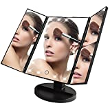 KDKD Trifold Lighted Vanity Makeup Mirror with 21 LEDs 3X/2X/1X Magnification Touch Screen 180 Adjustable Stand Countertop Travel Cosmetic Mirror (Black)