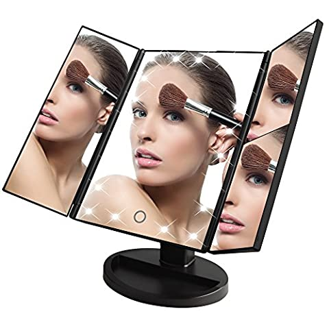 KDKD Trifold Lighted Vanity Makeup Mirror with 21 LEDs 3X/2X/1X Magnification Touch Screen 180 Adjustable Stand Countertop Travel Cosmetic Mirror - Tech Station Kit