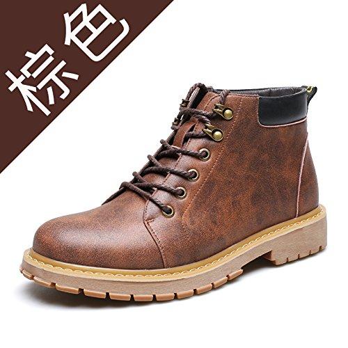 HL-PYL - Männer Martin Stiefel Freizeit Stiefel Zum alten Stiefel zurück zu den alten Verdickung Helfen warme Kleidung Schuhe 38 Braun