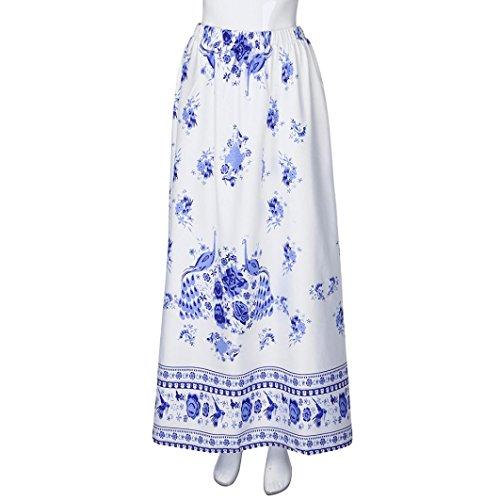 Solike Damen Mädchen Röcke Sommer Elegant Blumen Strandrock Maxirock Lang Rock Blau JDMCU8j