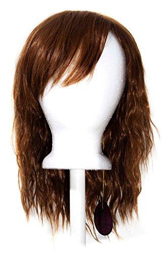 14/'/' Crimped Shoulder Length w// Short Bangs Auburn Brown Cosplay Wig NEW