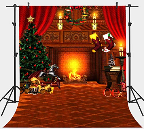 PHMOJEN Christmas Fireplace Backdrop Holly Stockings Christmas Tree Interior Photography Background Vinyl 5x7ft Photo Studio Props LYPH798