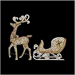 Home Accents 65 in. LED Lighted Grapevine Reindeer and 46 in. LED Lighted Grapevine Sleigh