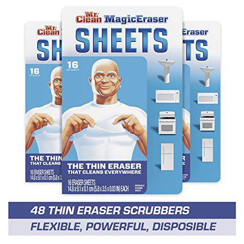 Mr Clean Magic Eraser Sheets Cleaning Wipes for Hard to Reach Spaces 16 Count Pack of 3