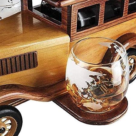 Whiskey Decanter set Gift 1000ml con 2 gafas de cristal de piedras de whisky y soporte de coche antiguo antiguo de la vendimia - conjunto de whisky para hombres, usados para Halloween