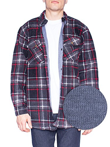 MAXXSEL Flannel Jacket for Mens Big & Tall Thermal Lined Button Down Shirt