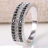 Fashion 925 Silver 0.34CT Blue Black Sapphire Prom Ring Women Wedding Size 6-10#by pimchanok shop (8, Black)