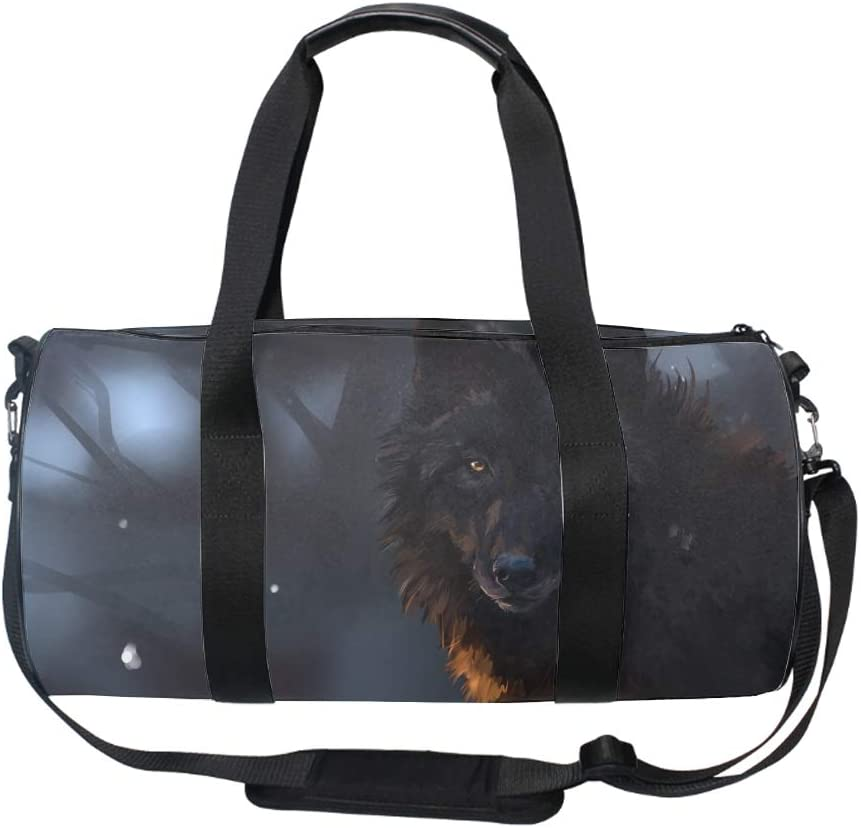 Lonely Wolf Sports Gym Bag Large Capacity Travel Duffel Bag