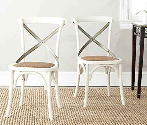 Safavieh American Homes Collection Eleanor Farmhouse X-Back Antique White Dining Chair Set of 2