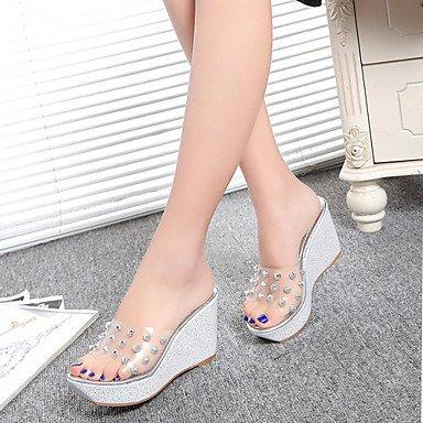 LvYuan Mujer-Tacón Cuña-Confort-Zapatillas y flip-flop-Oficina y Trabajo Vestido Informal-PU-Oro Plata sliver