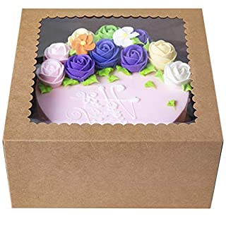 CHERRY Brown Cake Boxes10 X 10 X 5inch,Kraft Paperboard Bakery Box with Auto-Popup Window (Pack of 15)