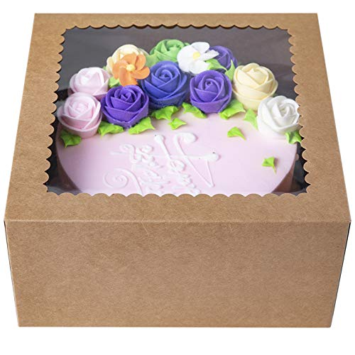 (CHERRY Brown Cake Boxes10 X 10 X 5inch,Kraft Paperboard Bakery Box with Auto-Popup Window (Pack of 15))