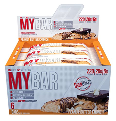Pro Supps MYBAR Delicious Oven Baked Protein Bar (Peanut Butter Crunch), 20g Protein, Only 6g Sugar, Gluten-free, No Trans Fat, Healthy on-the-go Snack. 6 Count, Net WT 1.94 ounces