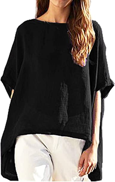 Rrive Womens Loose Casual Crew Neck Summer Linen T-Shirt Tee