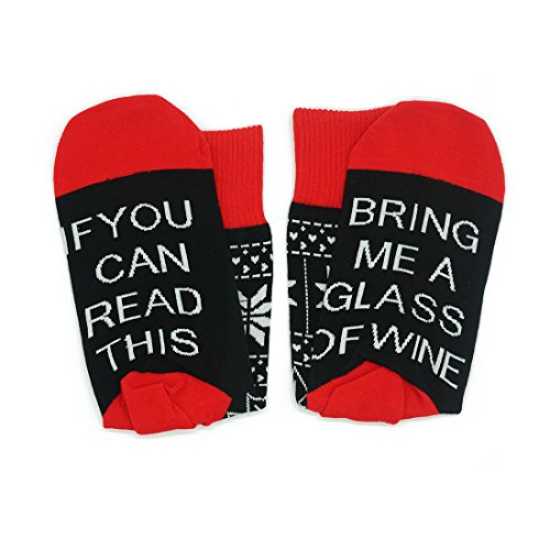 If You Can Read This Socks colorful Funny Casual Cotton Crew Wine Socks For Men Women (1 Pair, Red - Odd Valentine Gifts