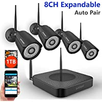 【Expandable 960P NVR】SAFEVANT 8CH 960P NVR Wireless Security Camera System, 4pcs Black 960P Indoors&Outdoors Wireless Security Cameras,65ft Night Vision,1TB HDD Pre-installed ,Auto-Pair,Plug&Play